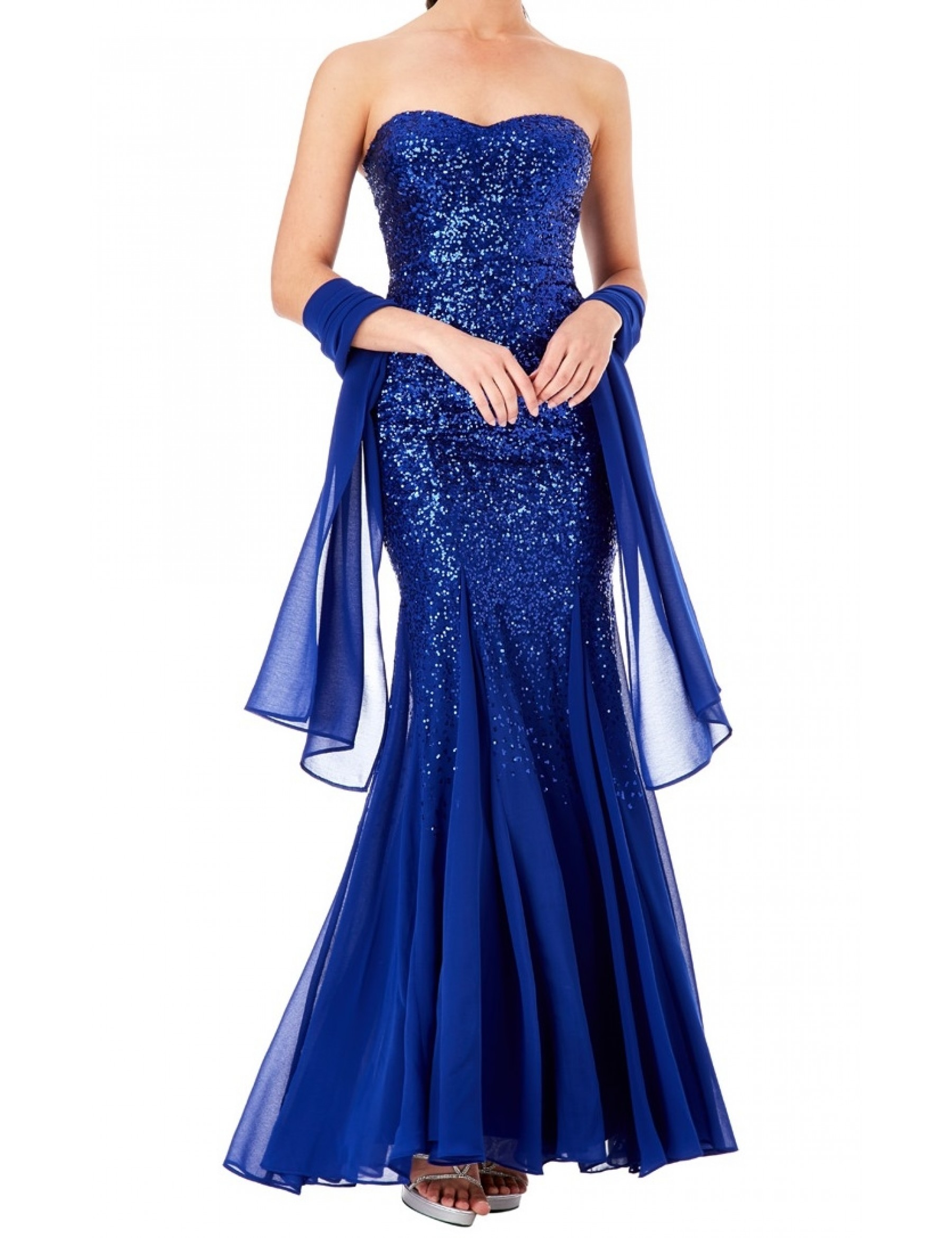 Sweetheart Sequin with Chiffon Inverted Panels at hemline