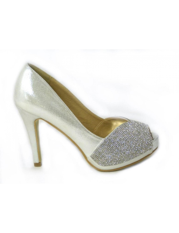Silver peep toe platform heels