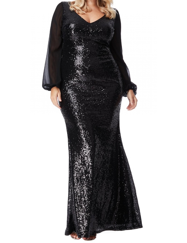 ead8714a3 Long Black Sequin Evening Dresses | Saddha