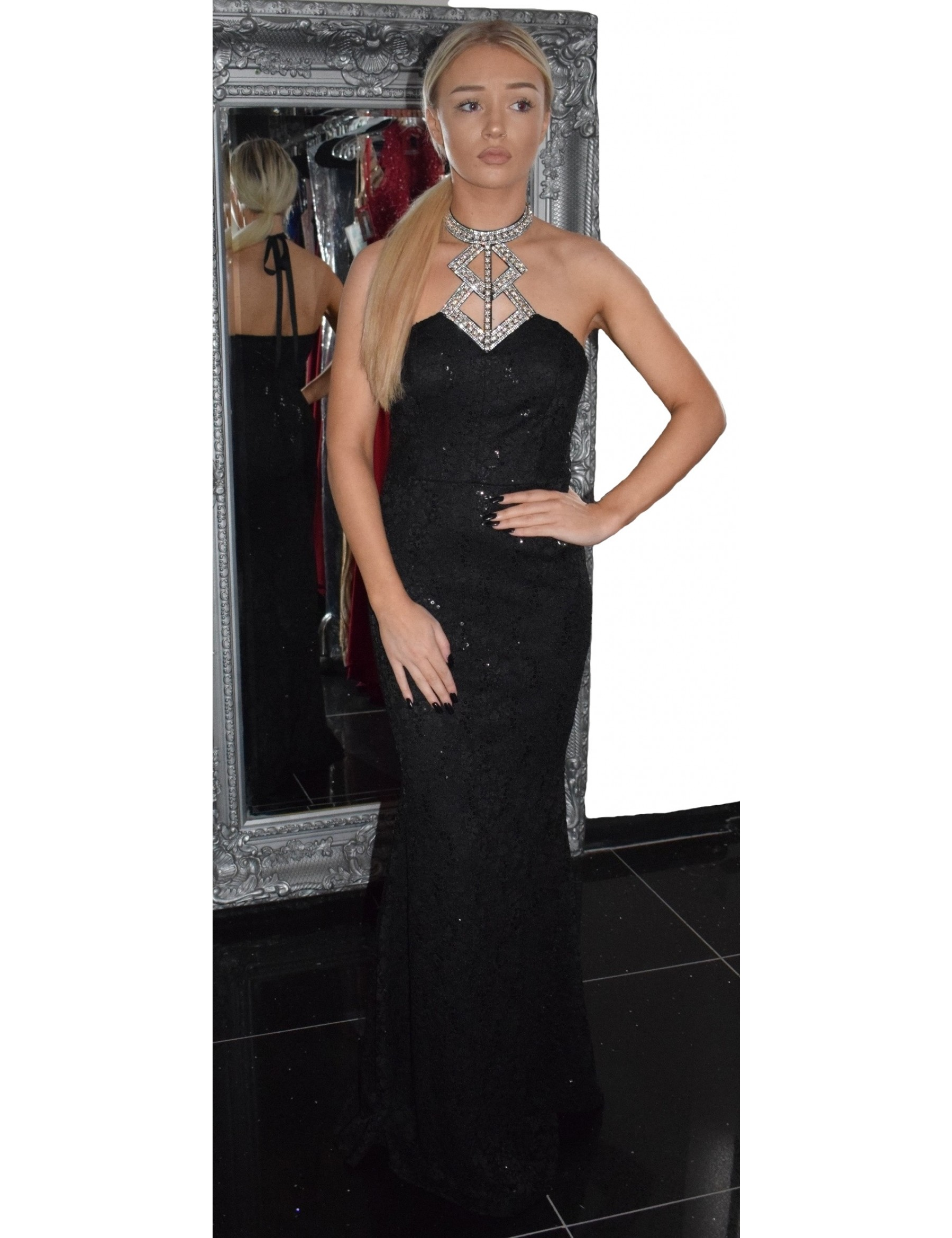 Black Lace Halterneck Fitted Evening Dress