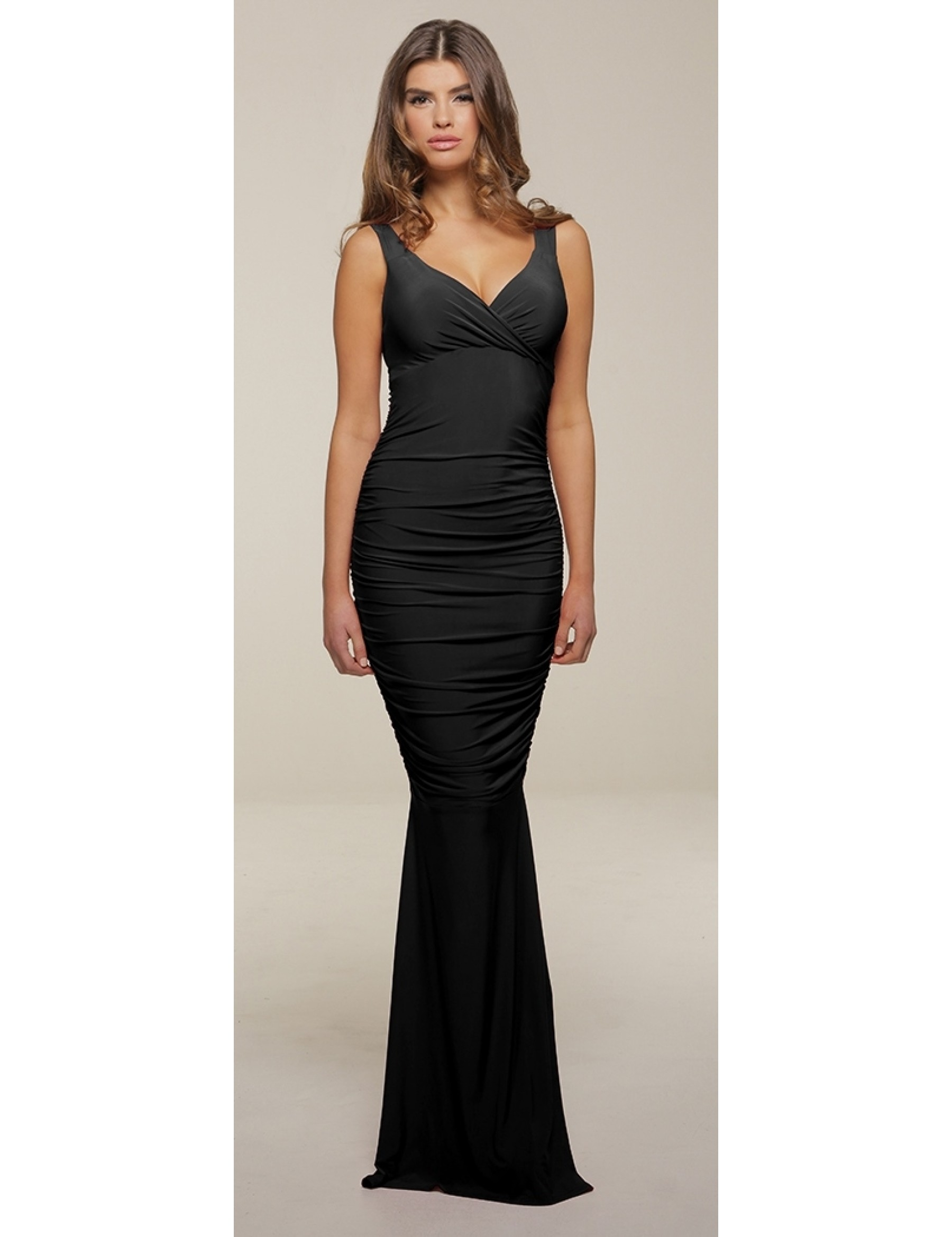 Black Slinky Ruched Evening Dress