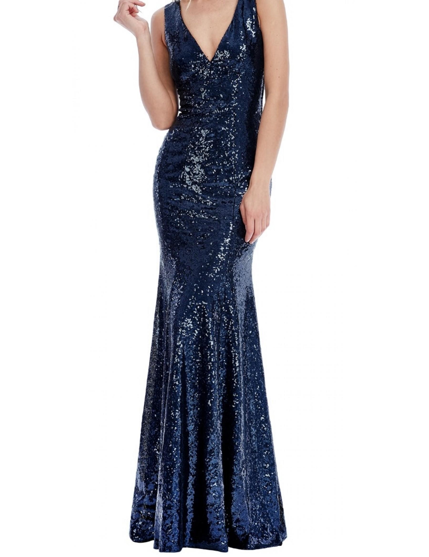 Navy Sequin Evening Dress