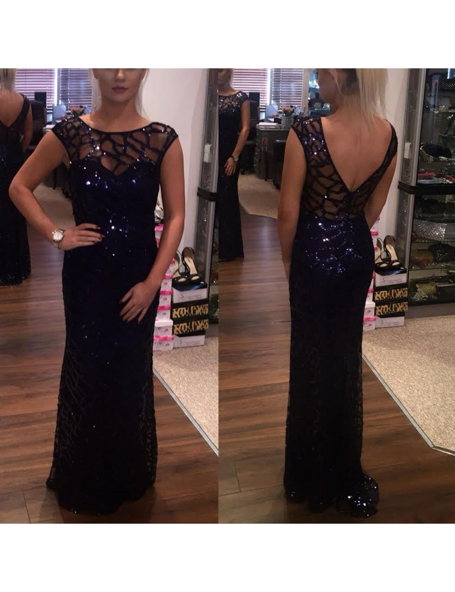 Absolute Glamour Navy Sequin Evening Dress
