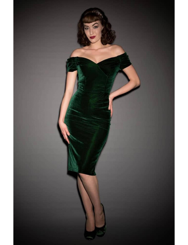 Forest Green Velvet Pencil Dress