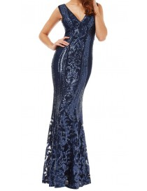 Navy Full lace Sequin Evening Dress
