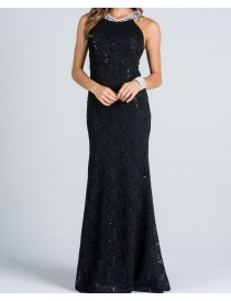 High Neckline Fitted Evening Dress