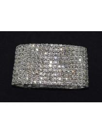 10 Strand Silver Rhinestone Bracelet