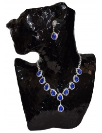 Crystal Sapphire Necklace and Earring Set