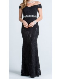 Black Off the Shoulder Lace Fitted Evening Dress