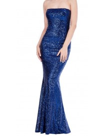Navy Full Sequin Evening Dress