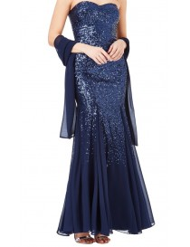 Navy Sweetheart Neckline Evening Dress