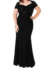 Cap Sleeve Bodice Evening Dress