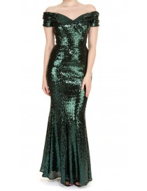 Emerald Green Sequin Evening Dress