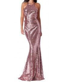 Bow Sequin Evening Dress