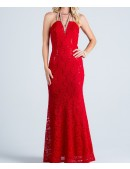 High Neck Lace Evening Dress