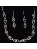 Bridal Crystal Necklace Set with Earrings