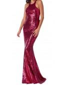 Bow Sequin Evening Dress
