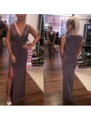Mocha Slinky Evening Dress - 1