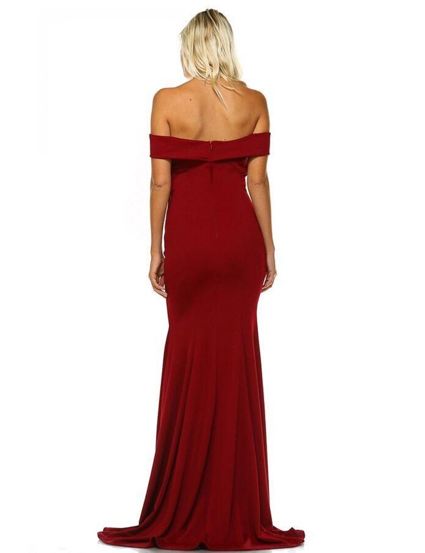 Burgundy Fishtail Evening Dress