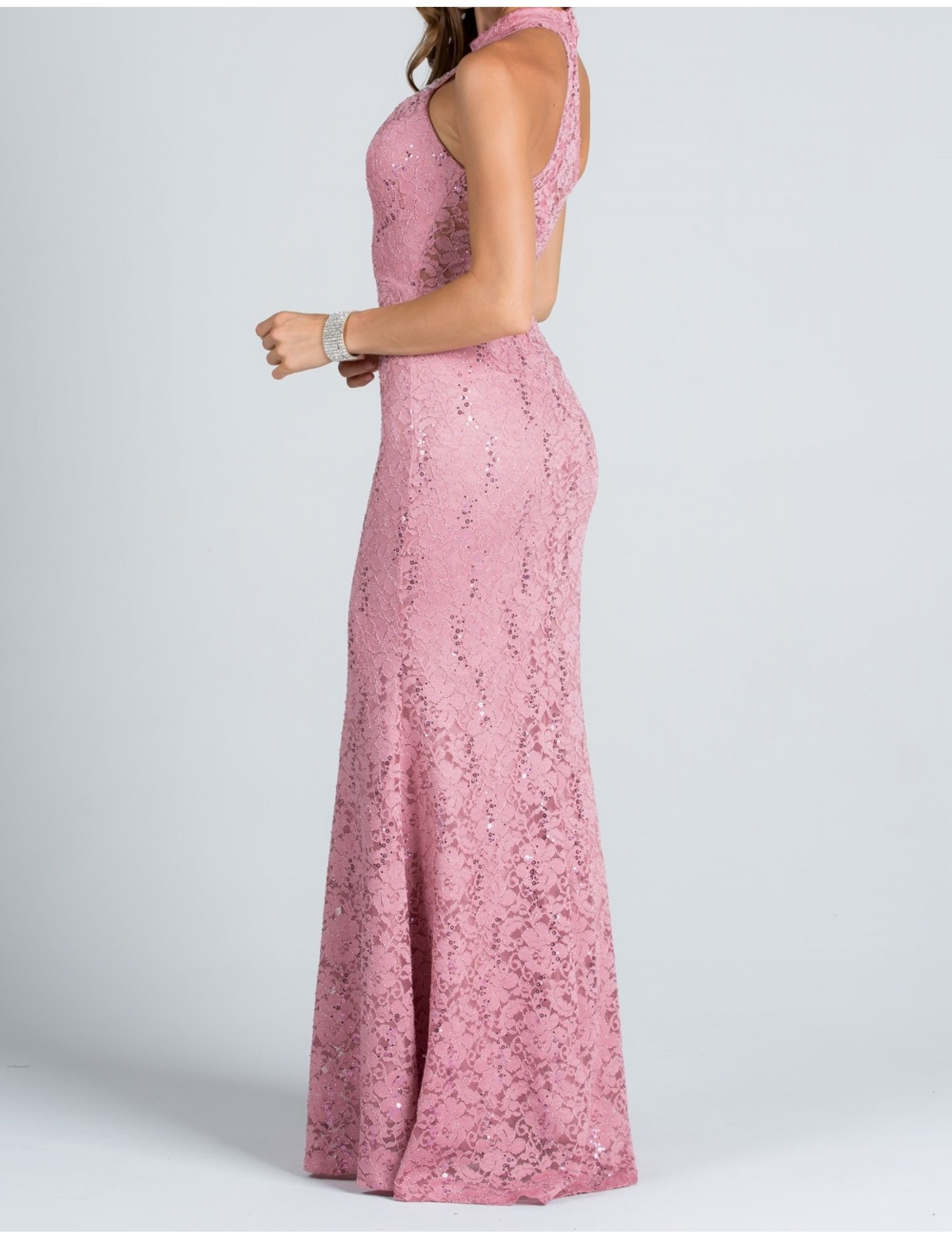 High Neck Lace Fitted Evening Dress