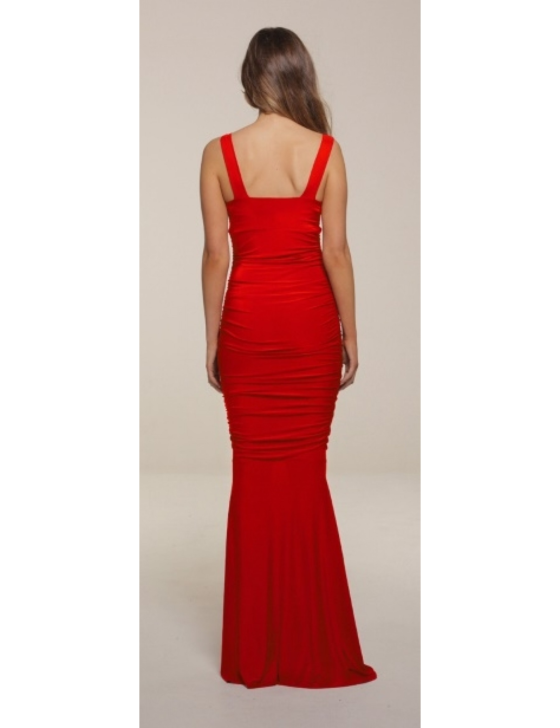 Berry Slinky Ruched Evening Dress