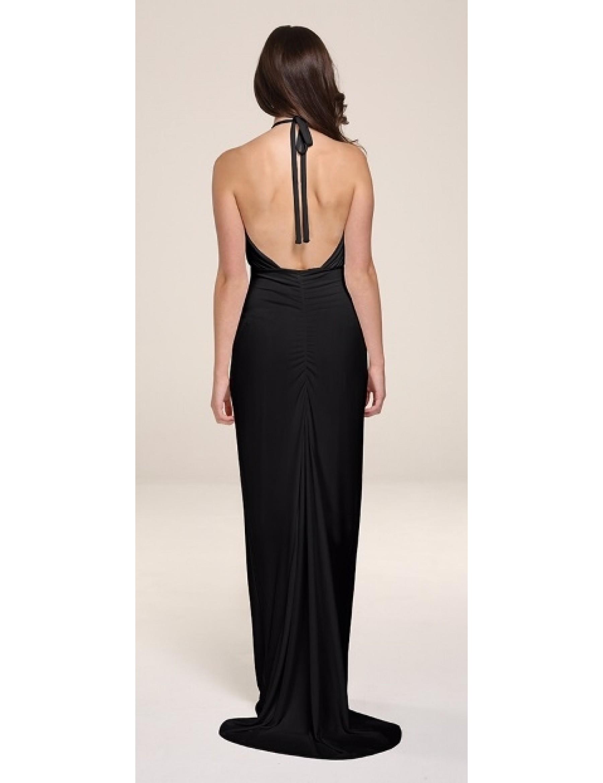 Black fishtail slinky Evening Dress