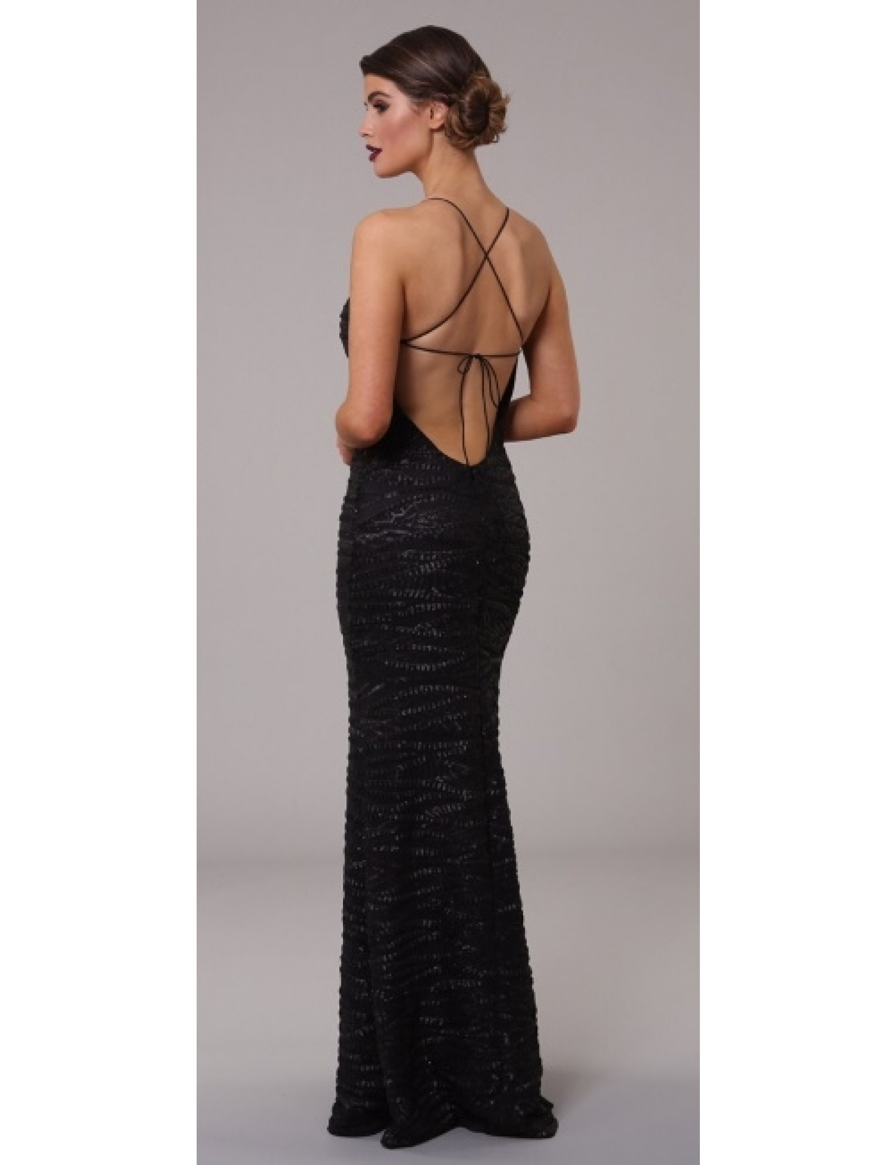Black Pleather Sequin Evening Dress