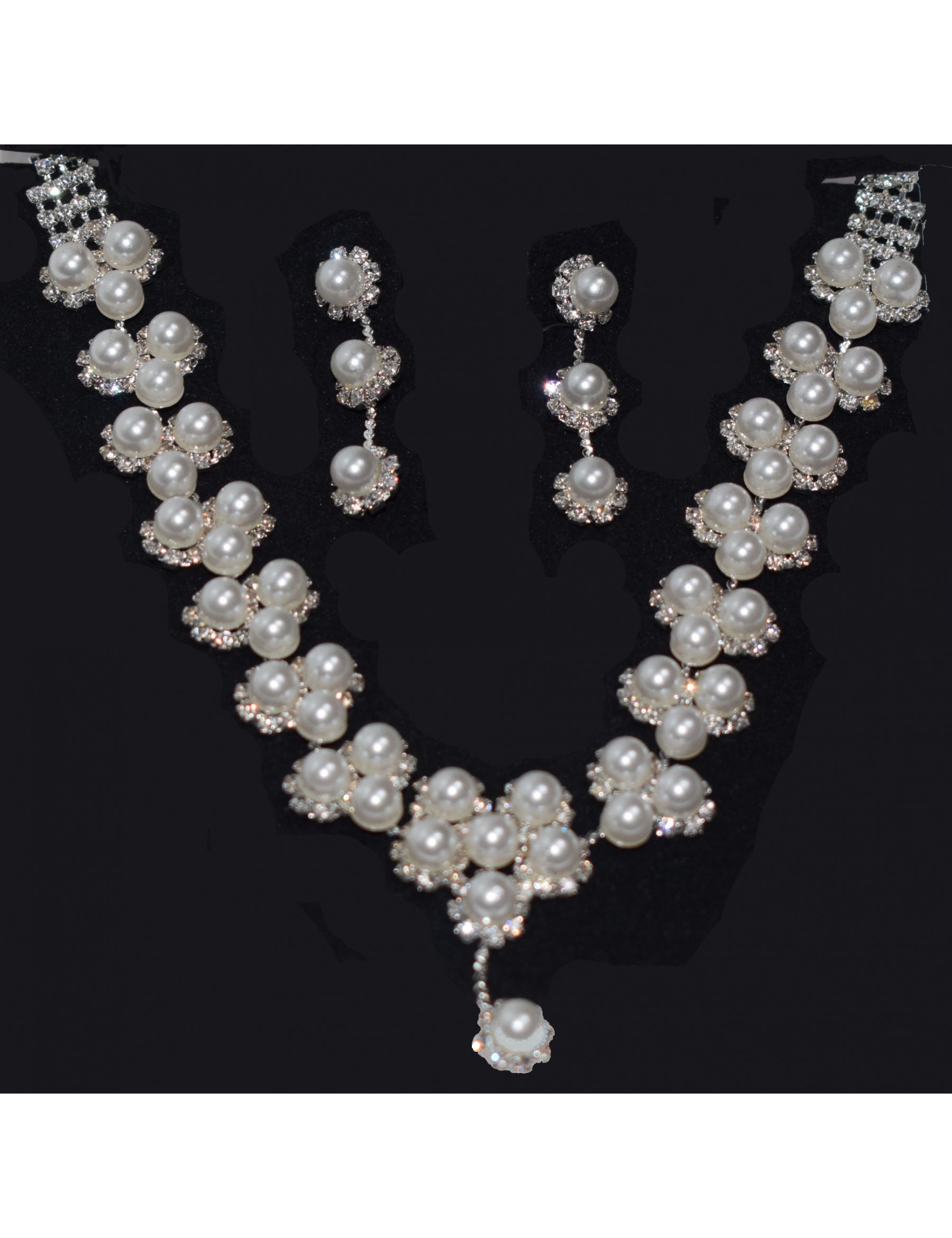 Rhinestone and Pearl Necklace and Earring set