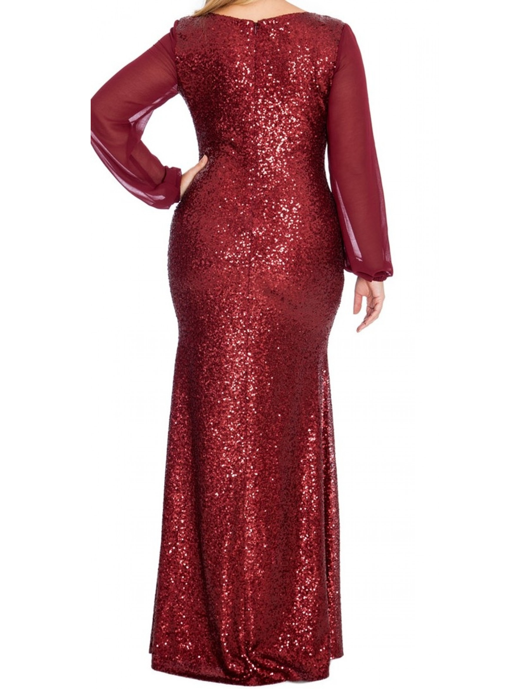Long Sleeve Chiffon Sequin Evening Dress