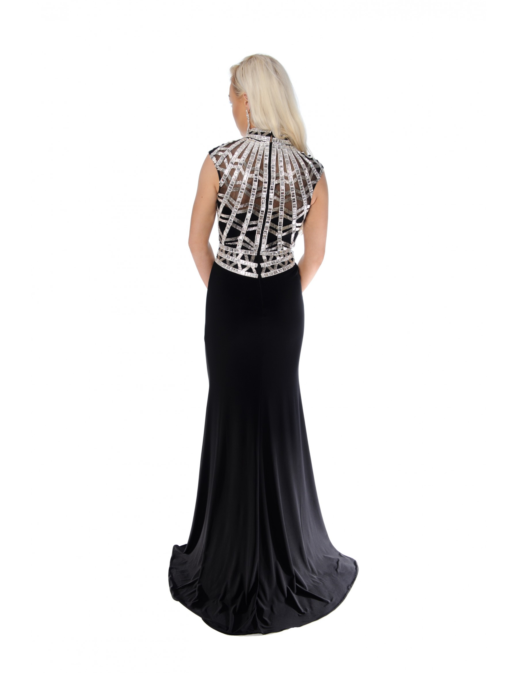 Glamorous Silver/Black High Neck